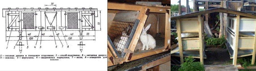 Сделать клетку для кроликов размеры и чертежи фото