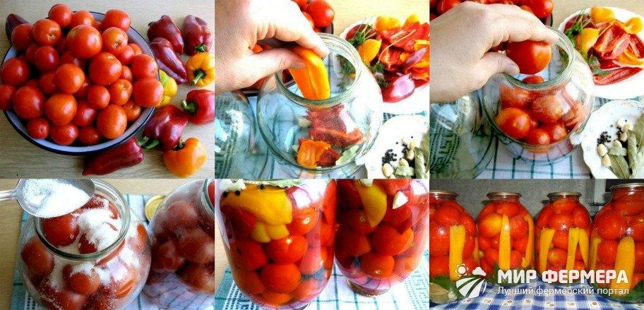 Консервация помидоров с перцем