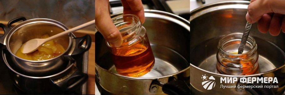 Как растопить мед на водяной бане
