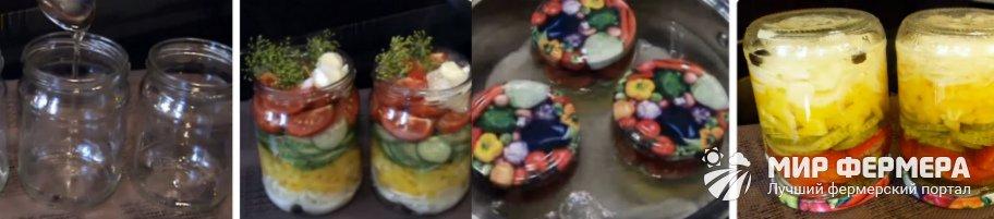 Салат из огурцов на зиму слоями