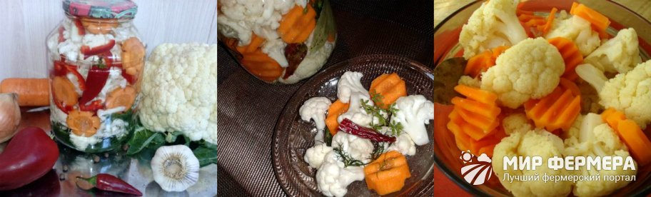 Цветная капуста на зиму с морковью