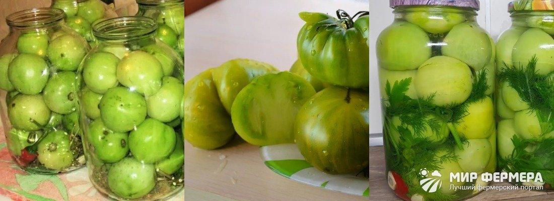 Зеленые помидоры с морковной ботвой