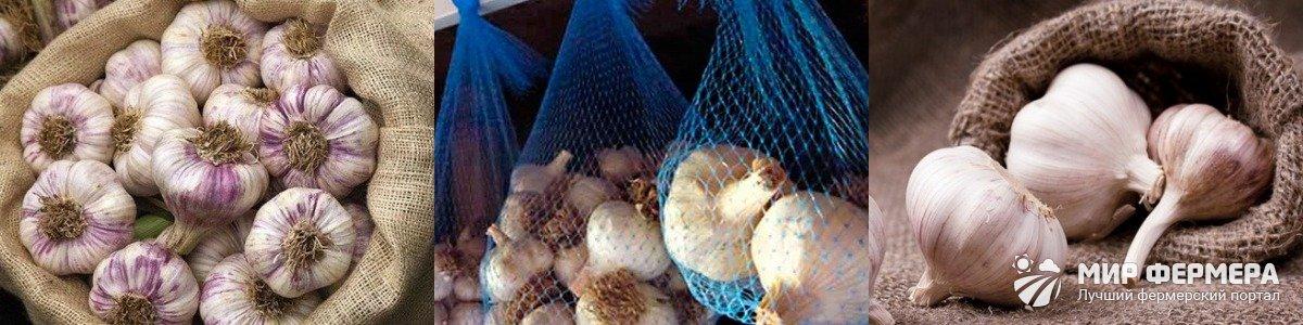 Хранение чеснока в чулках и мешках